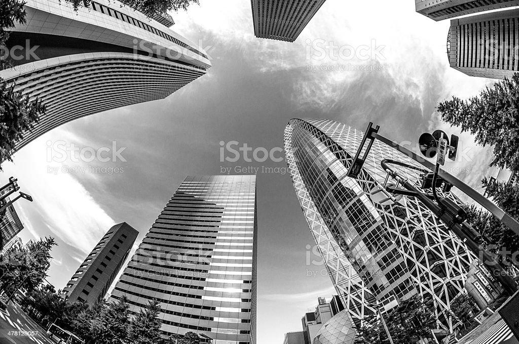Black and White Skyscrapers at Shinjuku Tokyo Japan stock photo