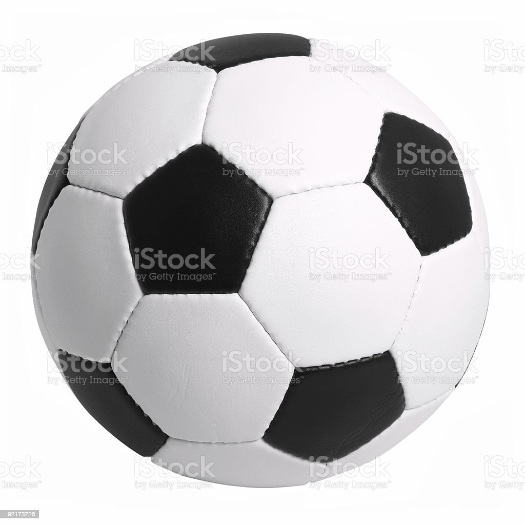 Black and White Soccer Ball Isolated on White Background royalty-free stock photo