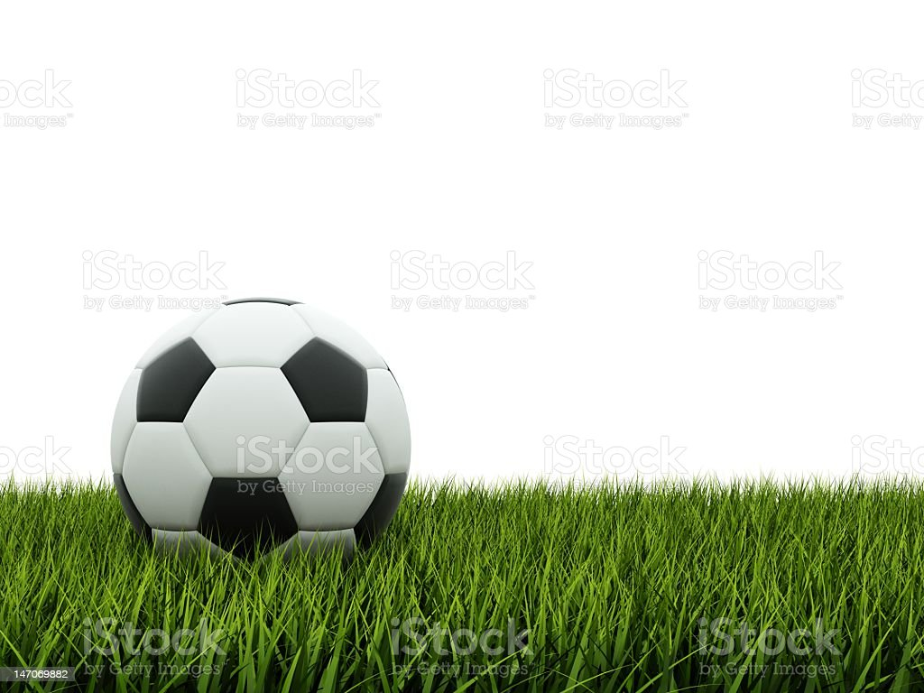 Black and white soccer ball on grass royalty-free stock photo