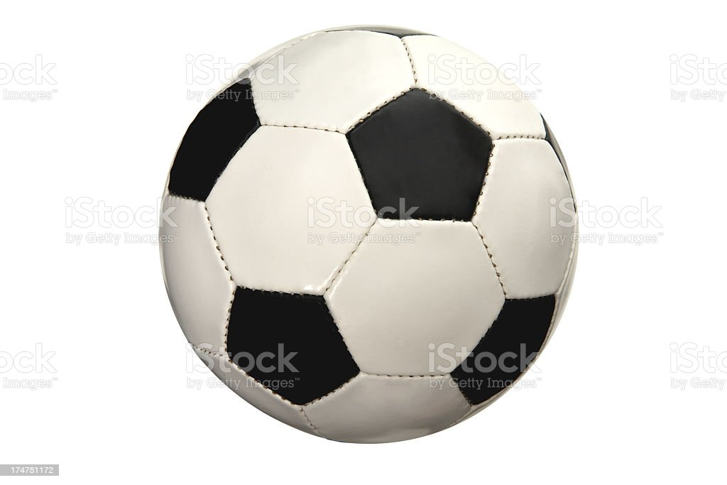 Black and white soccer ball on white background stock photo