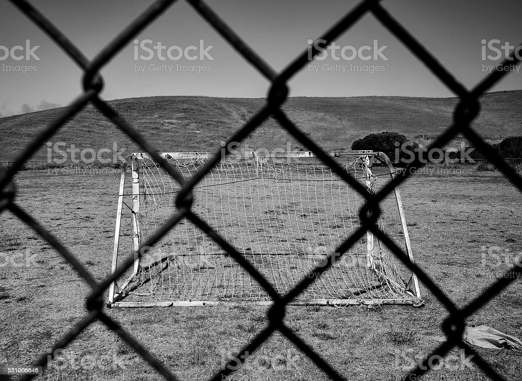 Black and White Soccer Field stock photo