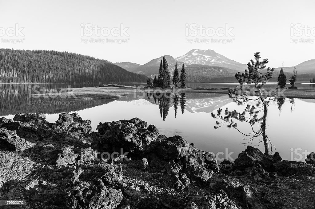 Black and White Sparks Lake stock photo