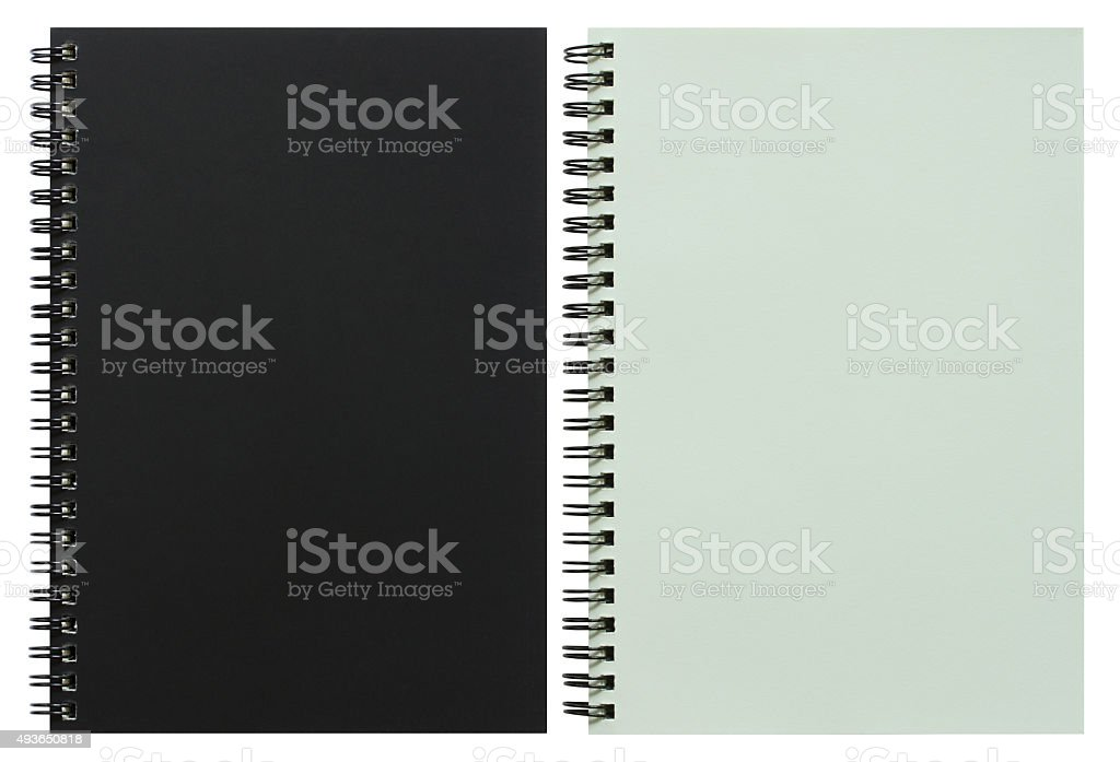 black and white spiral notebook stock photo