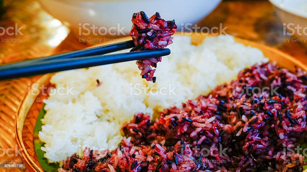 Black and white sticky rice stock photo