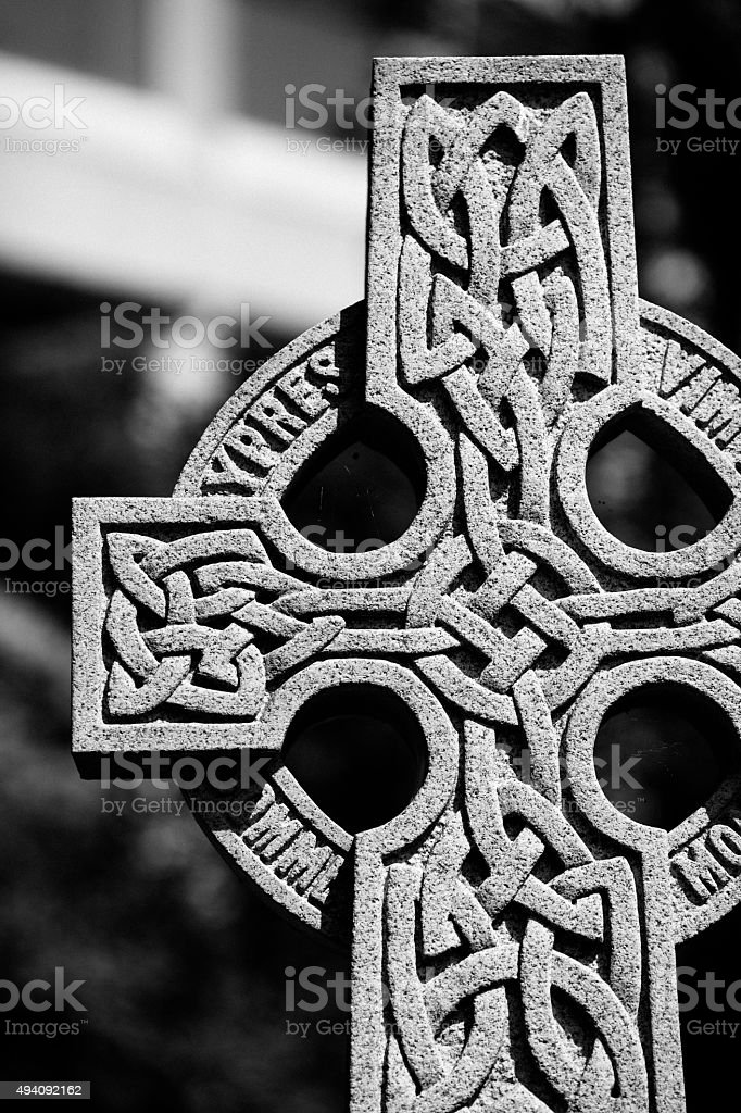 Black And White Stone Celtic Cross stock photo