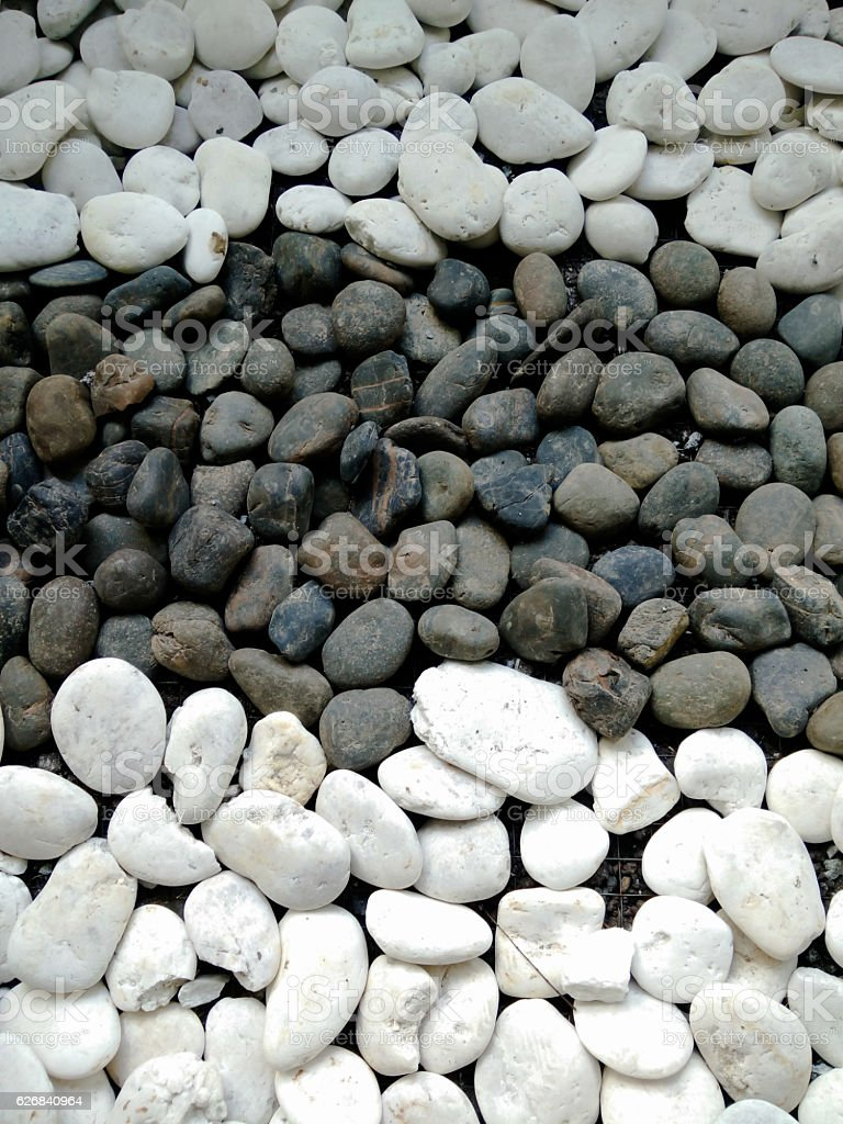 Black and white stone color on the ground stock photo