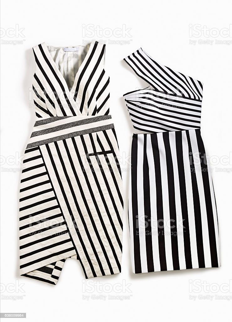 Black And White Striped Dresses stock photo