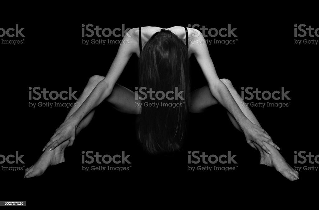 Black and white studio shoot stock photo