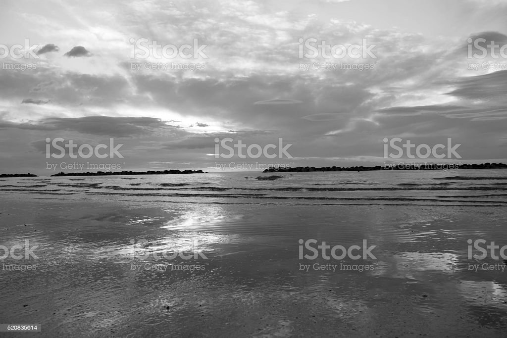 Black and white sunrise on Mediterranean sea stock photo