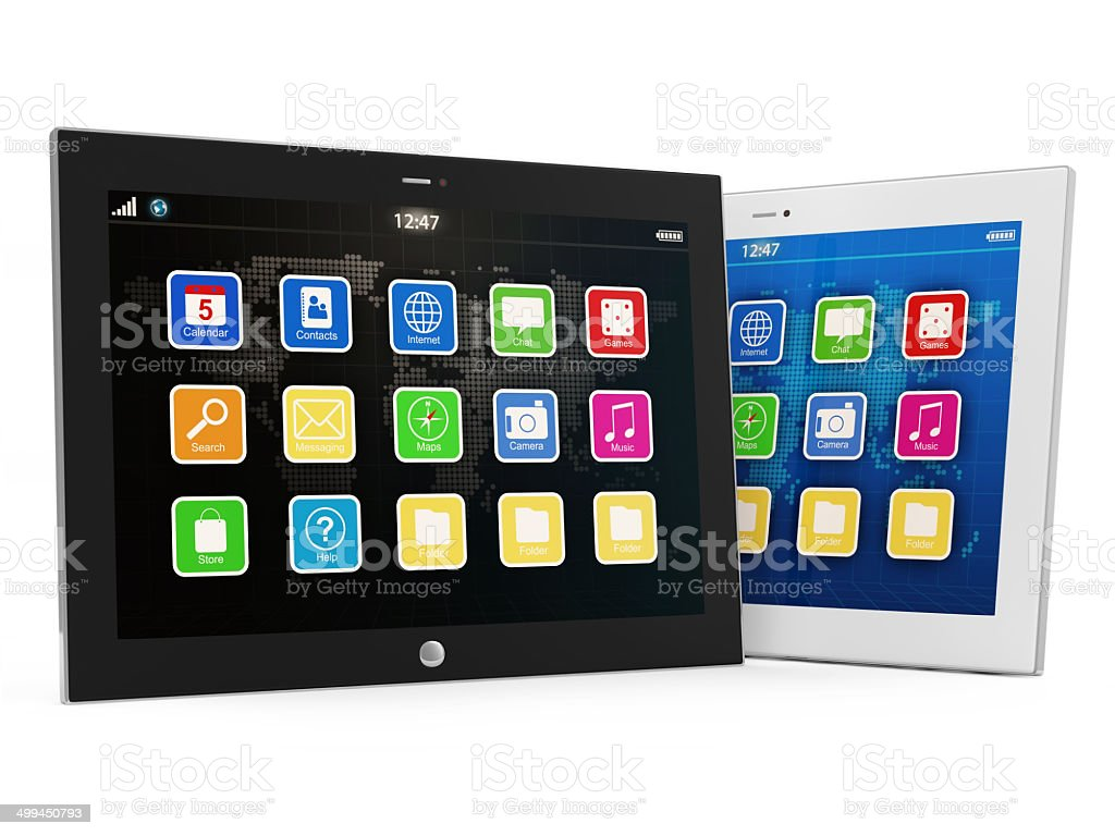 Black and White Tablet PC isolated on white background royalty-free stock photo