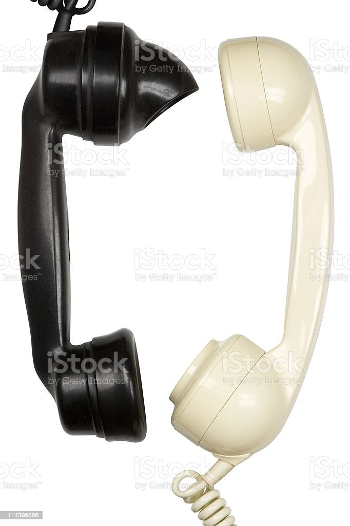 Black And White Telephone Handsets Talking royalty-free stock photo