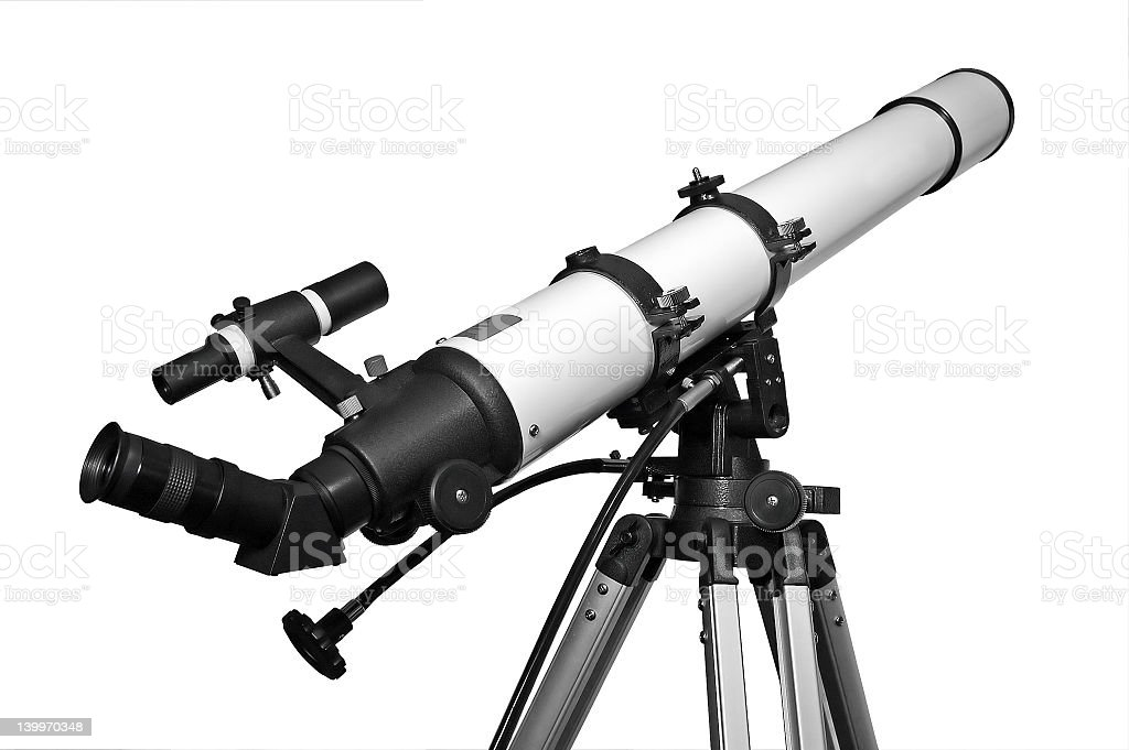 Black and white telescope pointing at the sky stock photo