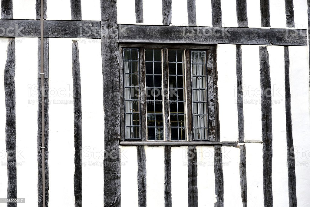 Black and white timbered building royalty-free stock photo