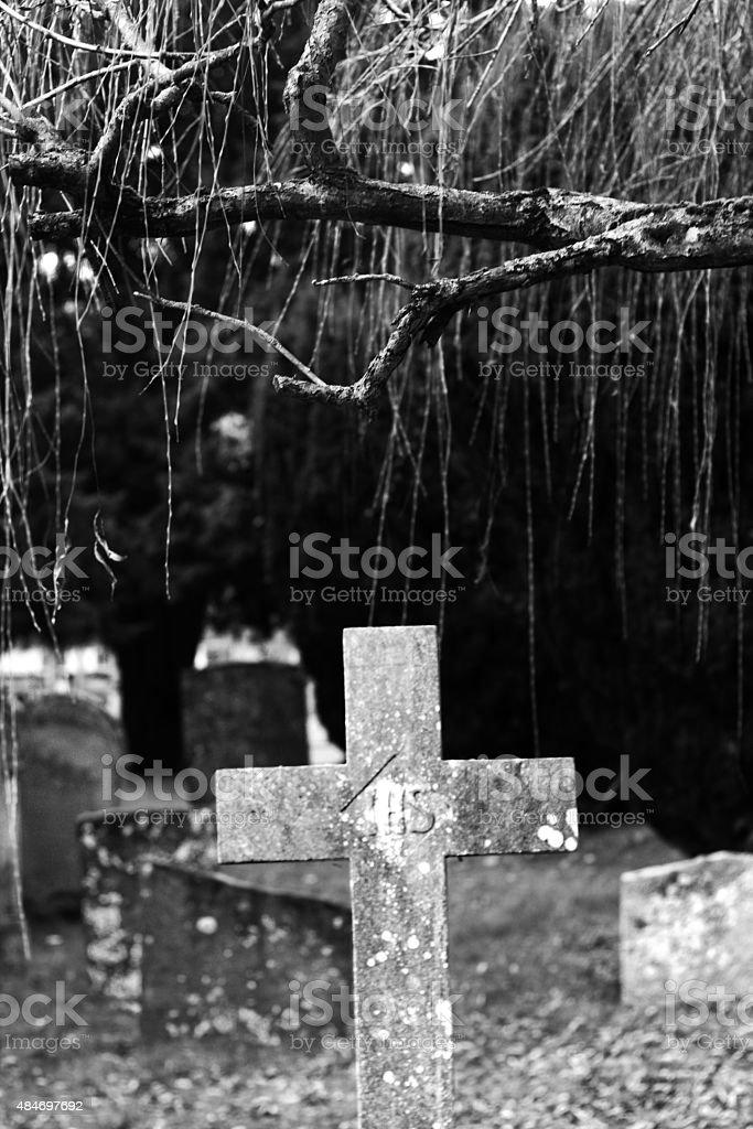 Czarny i biały Tombstone w stanie zbiór zdjęć royalty-free