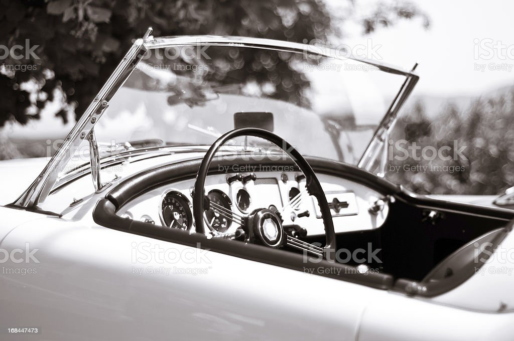 Black and white toned photo of a vintage sport car stock photo