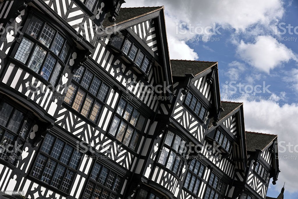Black and white tudor architecture in Chester royalty-free stock photo