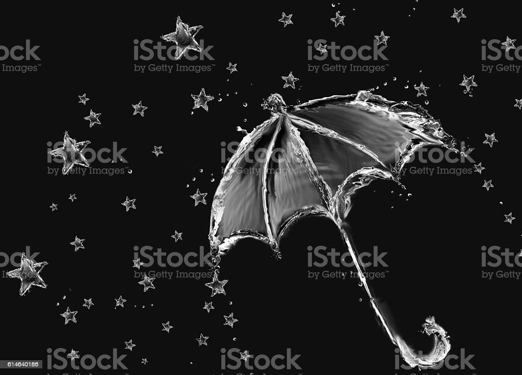 Black and White Umbrella and Stars royalty-free stock photo