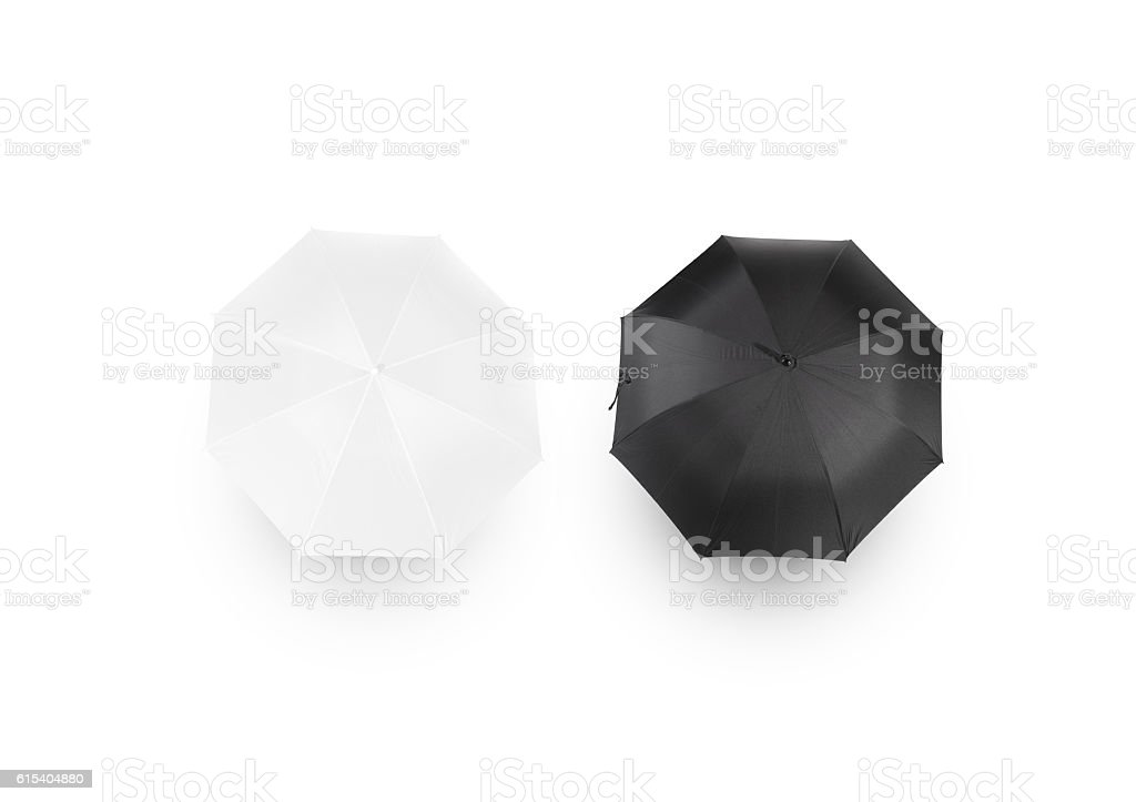 Black and white umbrella mockups, isolated, top view stock photo