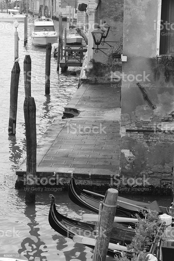 Black and white Venician pontoon stock photo