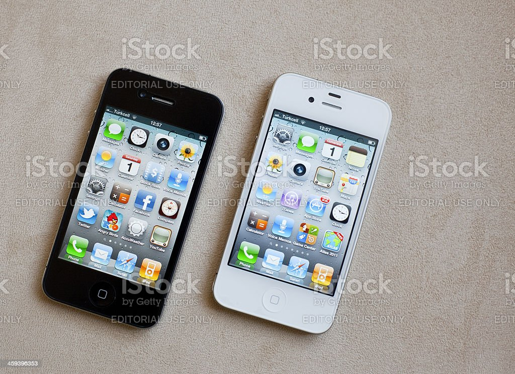 Black And White Versions Of iPhone4 royalty-free stock photo