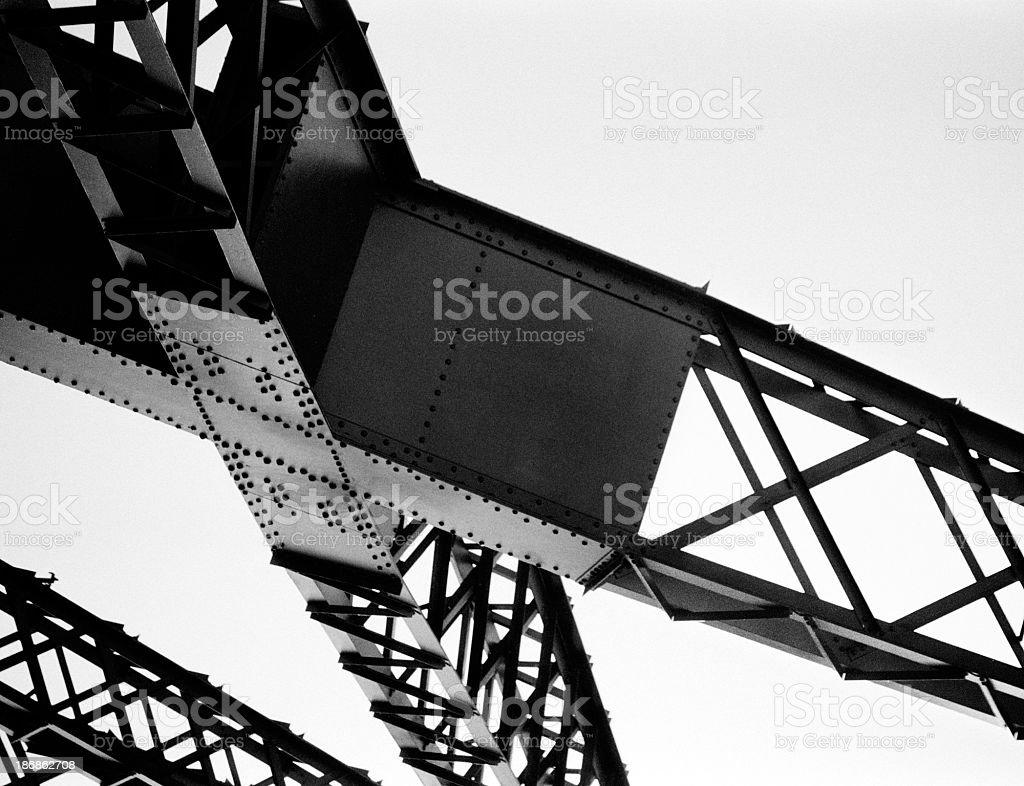 Black and white view of bridge truss stock photo