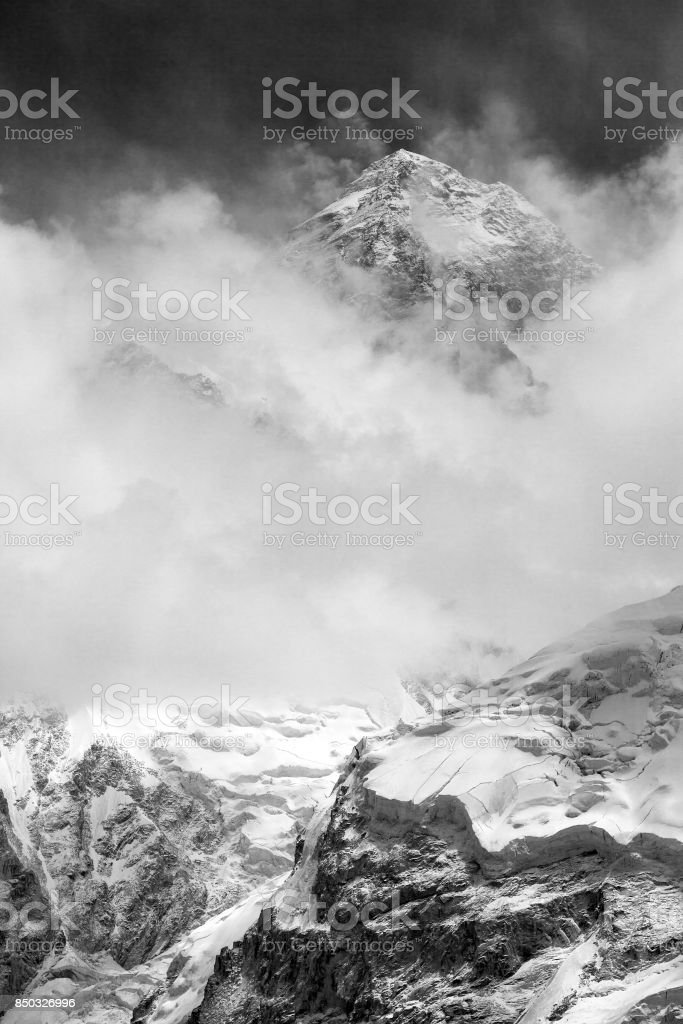 black and white view of Mount Everest from Kala Patthar stock photo