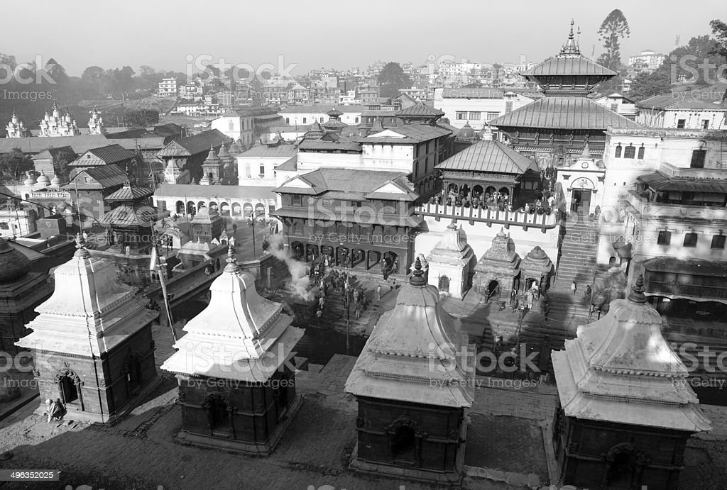 Black and white view of Pashupatinath stock photo