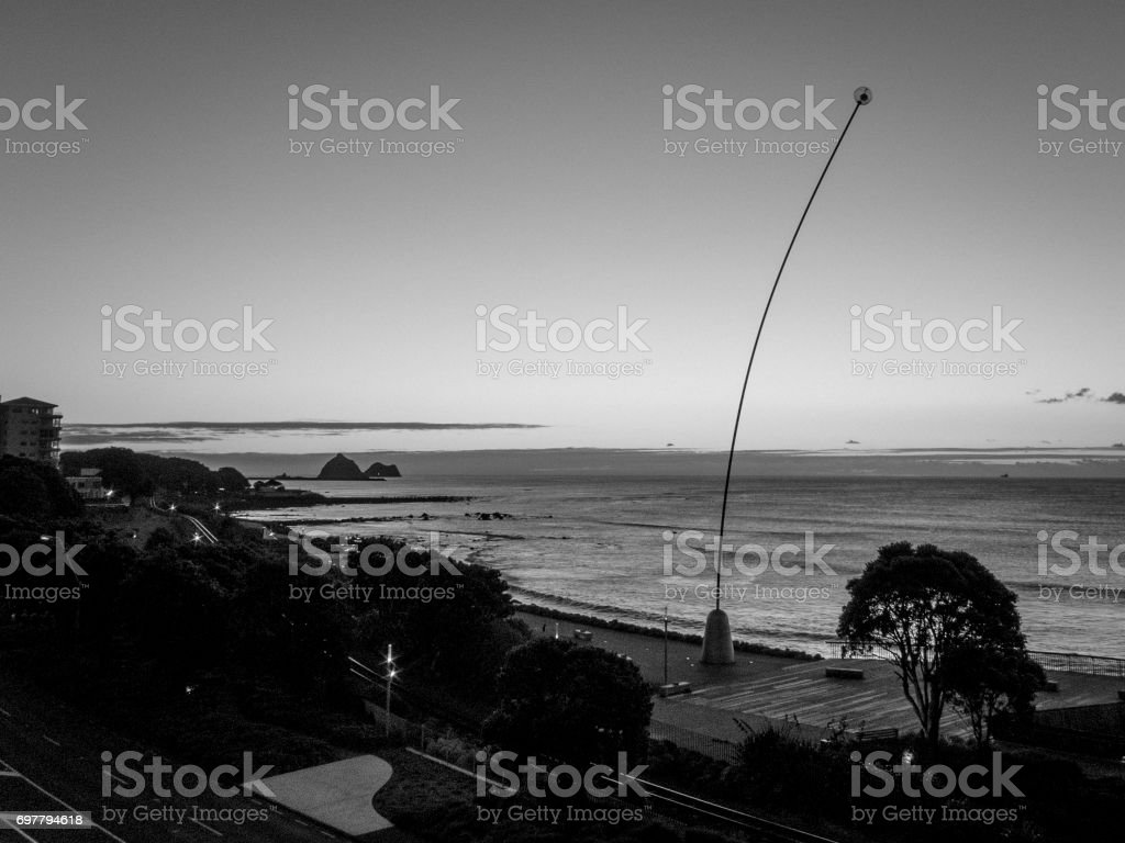 Black and White Vintage style shot of New Plymouth Foreshore and wind wand stock photo