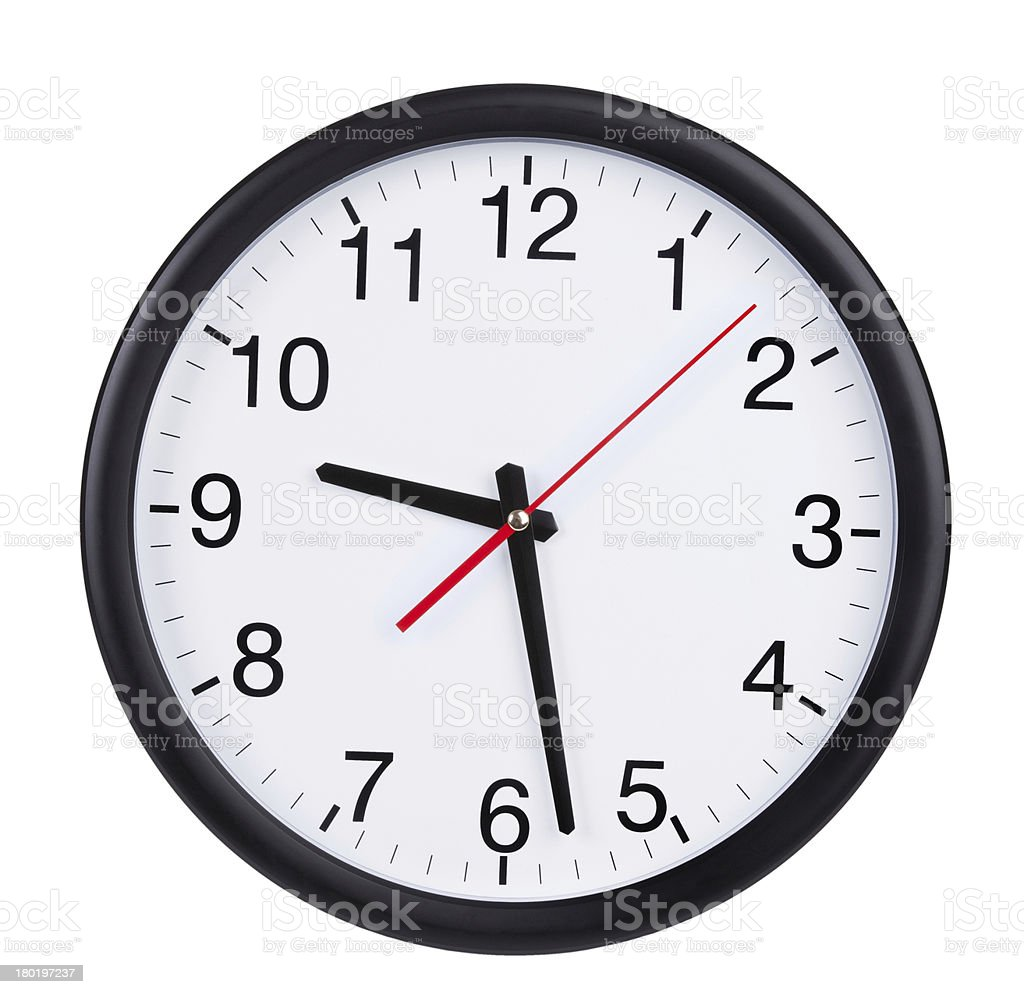 Black and white Wall clock showing 928 royalty-free stock photo