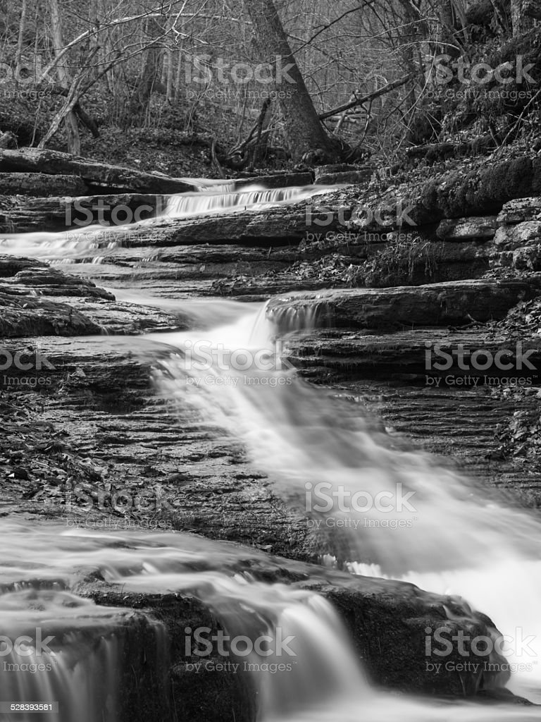 Black and white waterfall in Kentucky stock photo