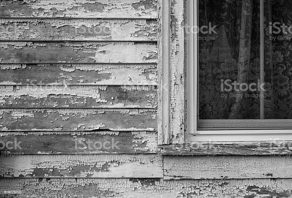 black and white window on old house stock photo