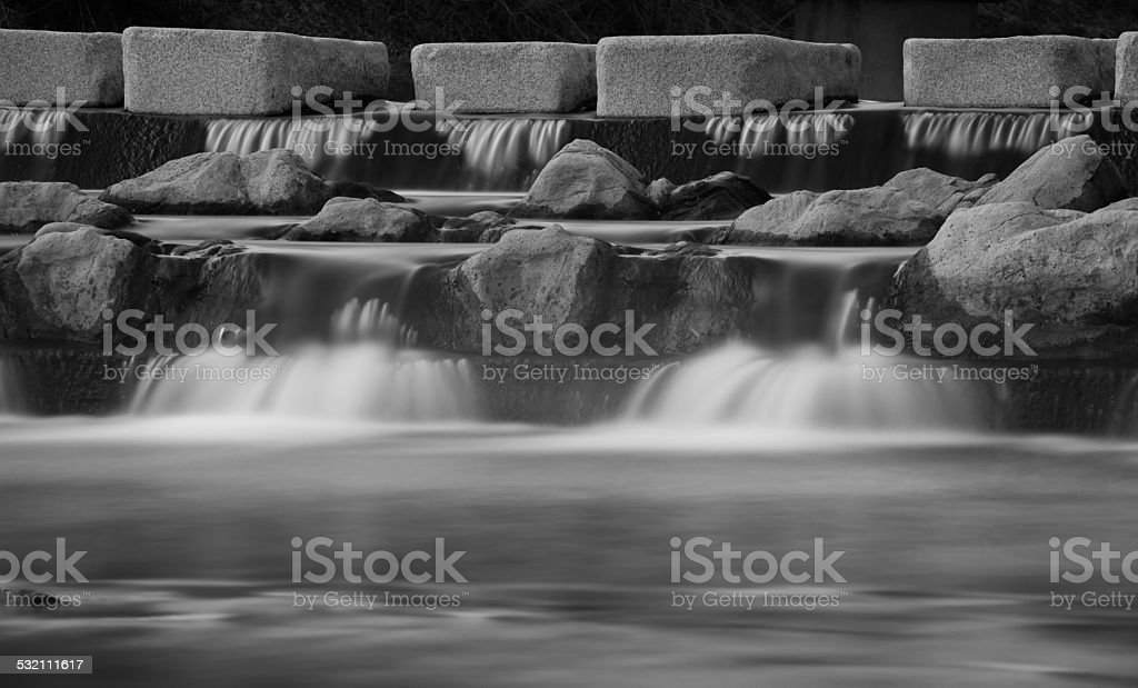 black and white with winter creek stock photo