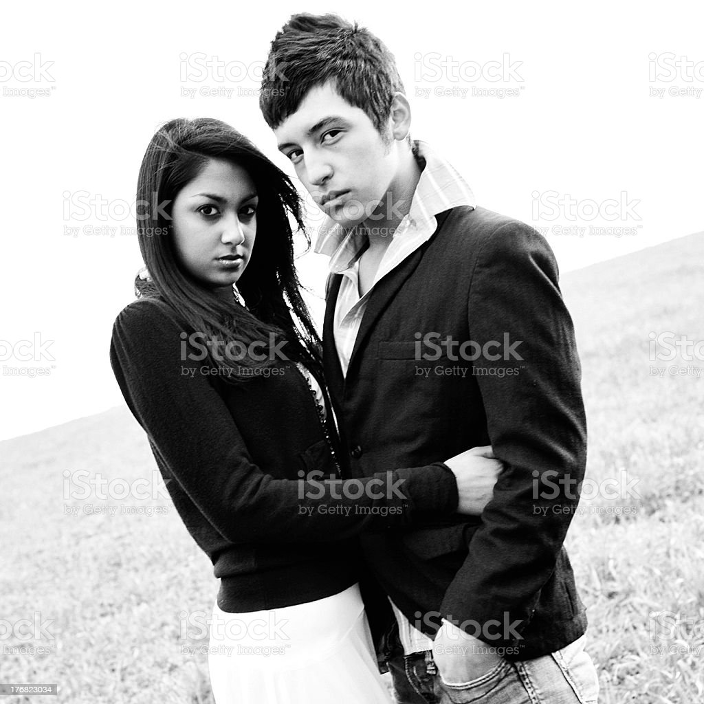 Black and White Young Female/Male. royalty-free stock photo
