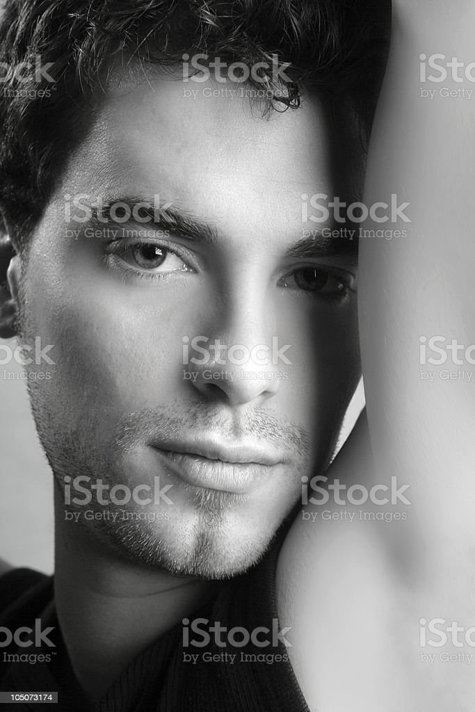black and white young man face portrait royalty-free stock photo