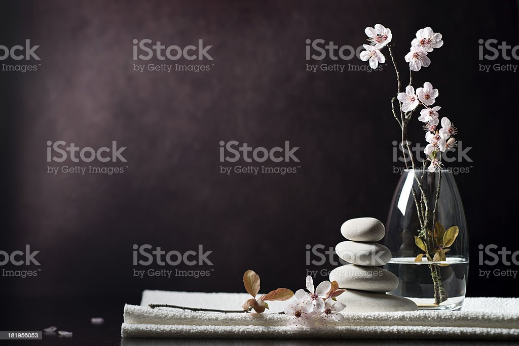 Black and white zen spa flower background stock photo