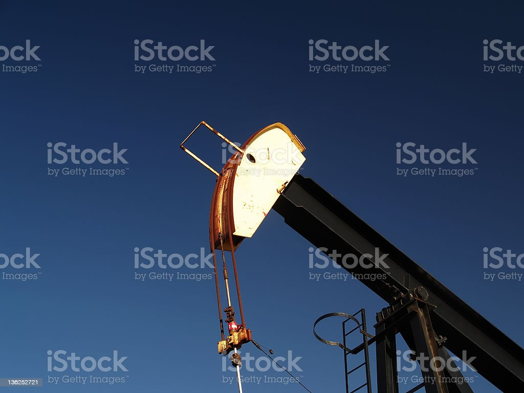 Black and Yellow Oil Well Pumpjack royalty-free stock photo