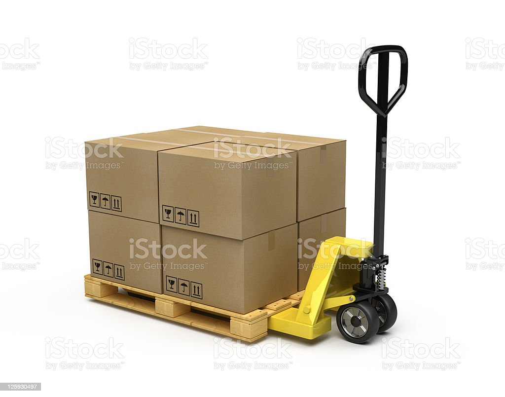 Black and yellow pallet truck carrying cardboard boxes  stock photo