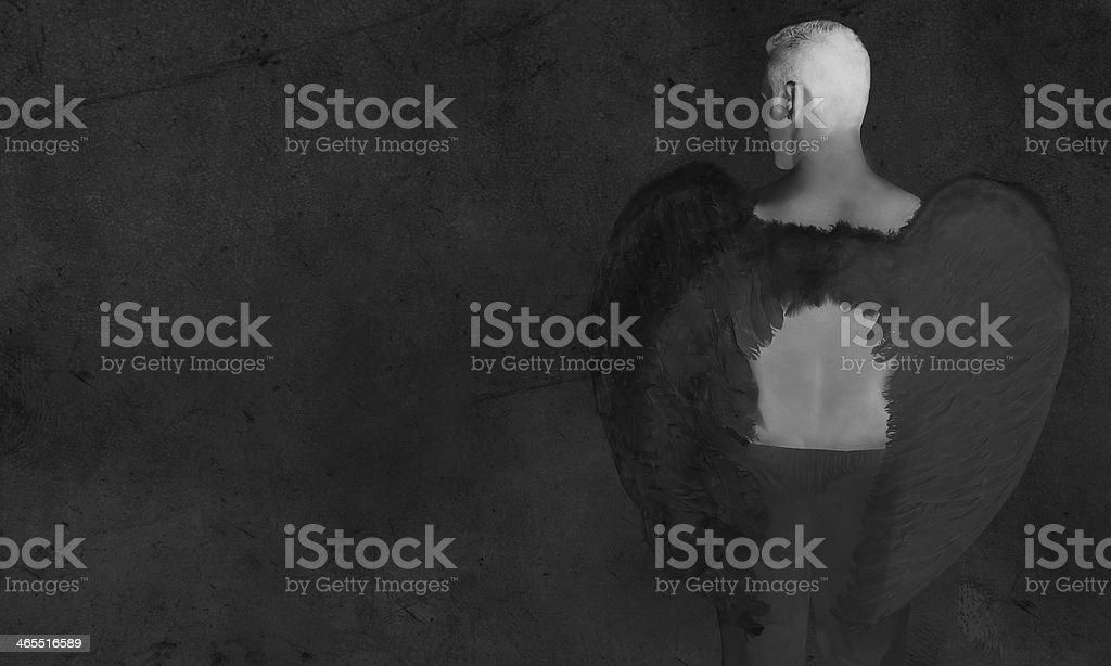 Черный Ангел темный фон Стоковые фото Стоковая фотография