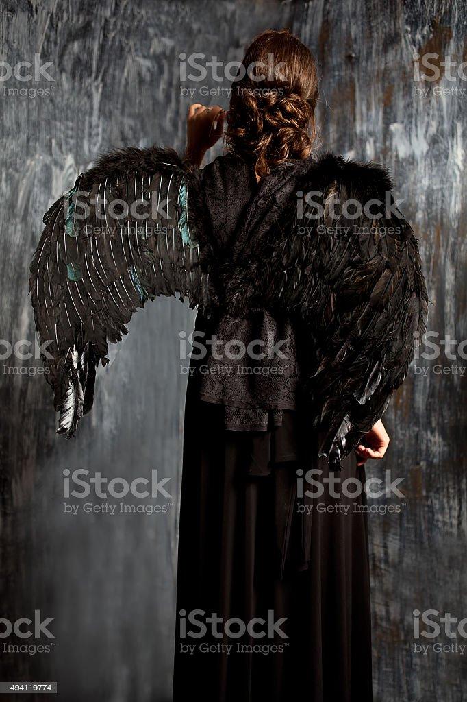 black angel girl stock image stock photo