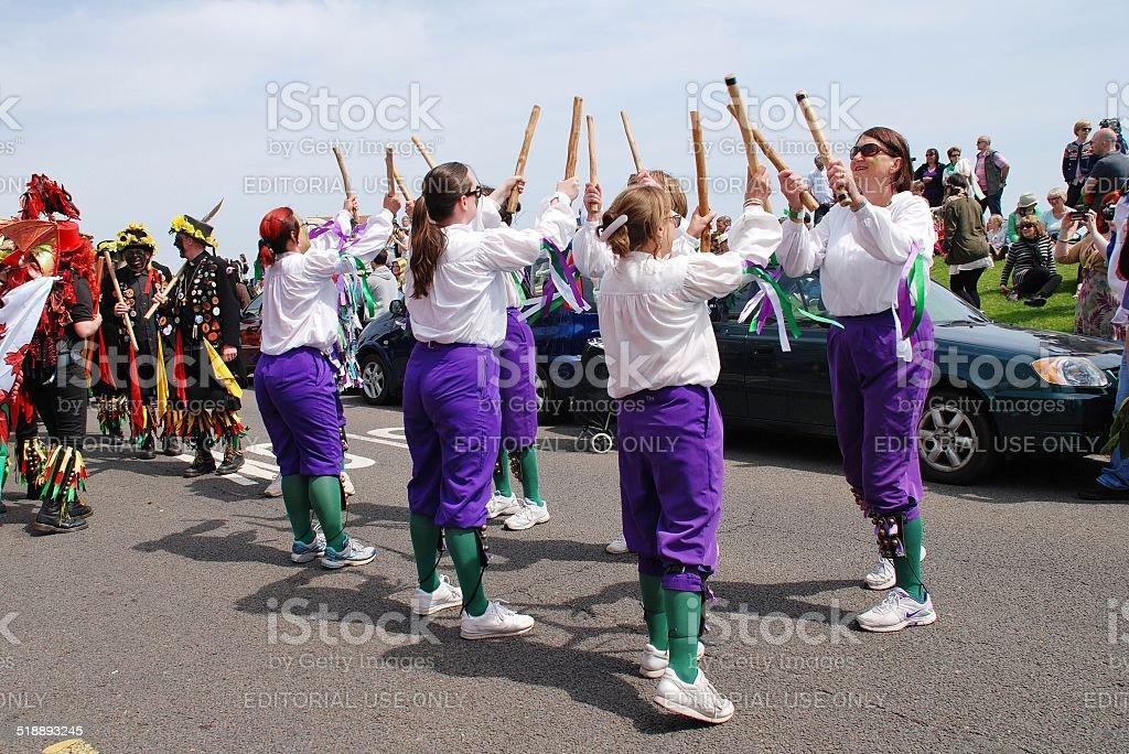 Black Annis Morris dancers, Hastings stock photo