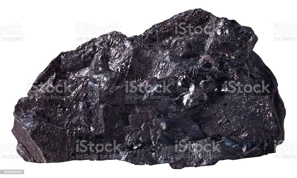 black anthracite (coal) mineral stone isolated stock photo