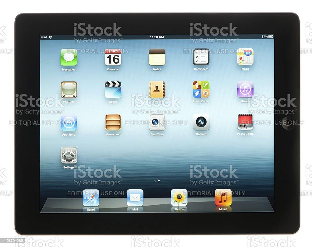 Black Apple Third Generation iPad (Isolated) royalty-free stock photo