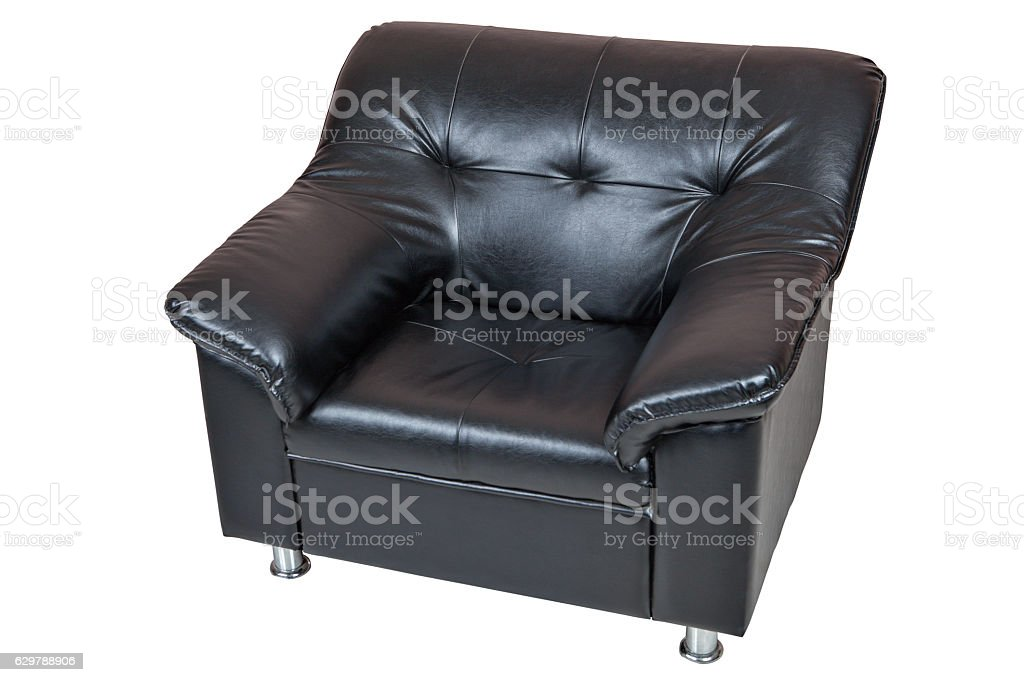 Black armchair imitation leather isolated on white background. stock photo