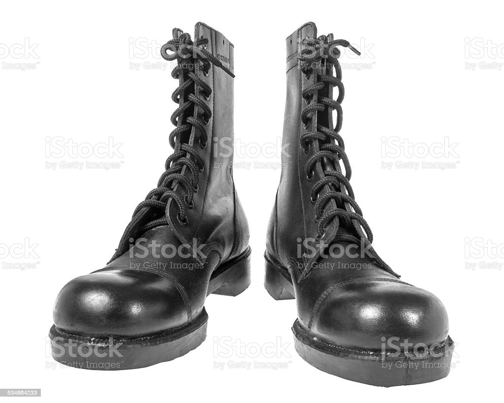 black army boots isolated on white stock photo
