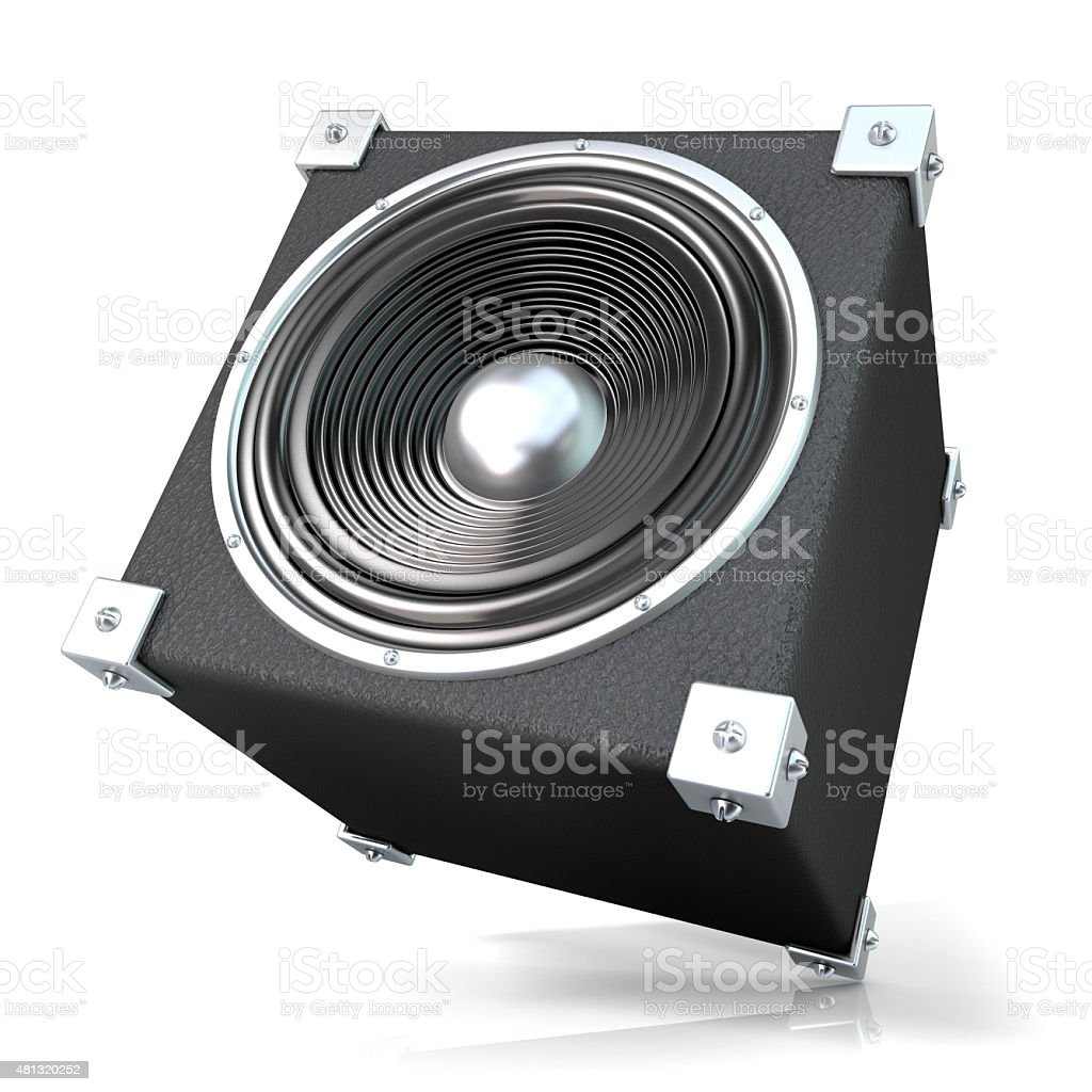 Black audio speaker. 3D. Side, angled view stock photo