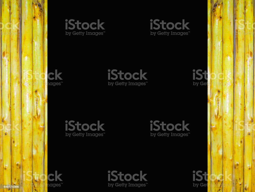 black background and beside bamboo vertical open the door stock photo