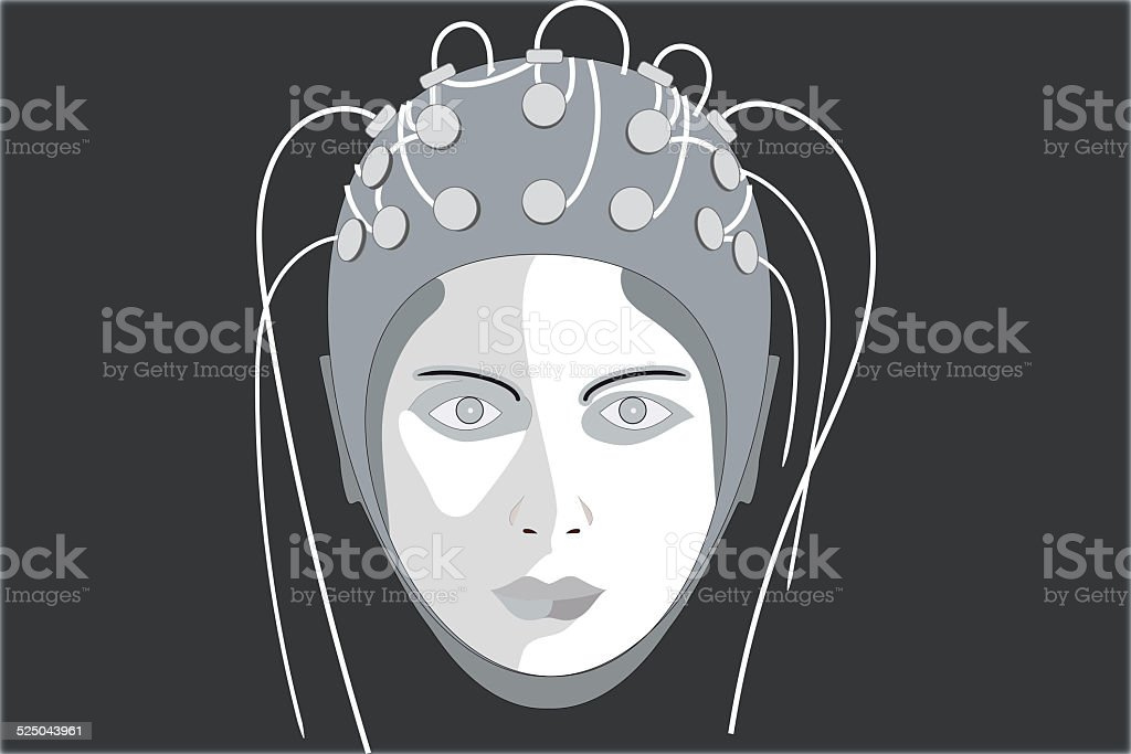 EEG, black background stock photo