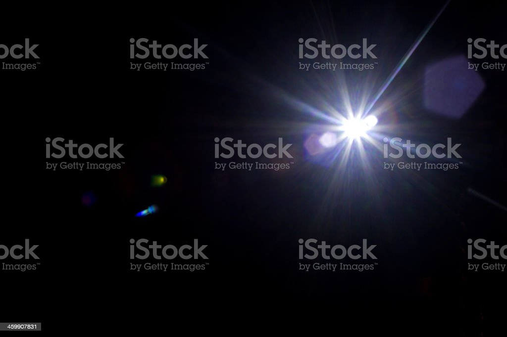 Black Background with a light flare stock photo
