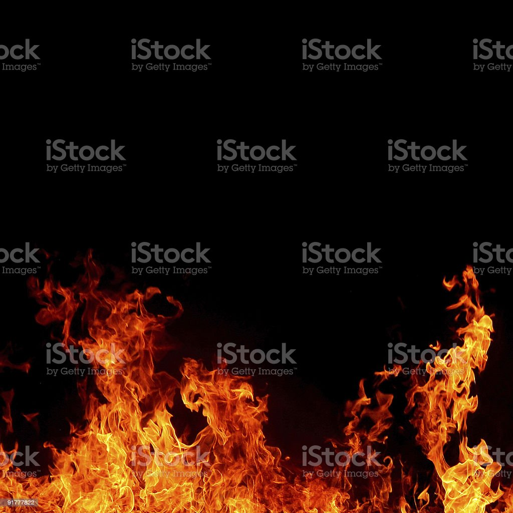 black background with fire stock photo