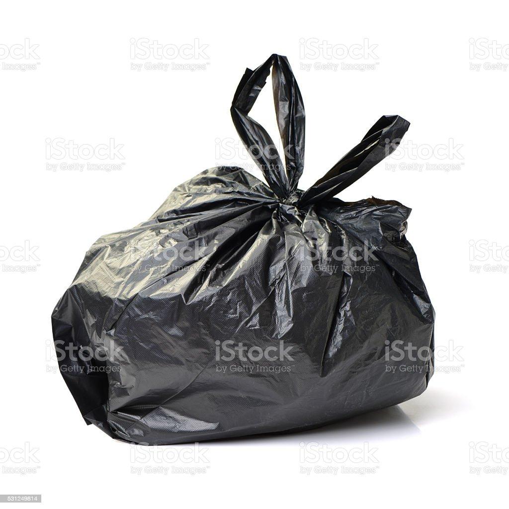 Black bag of rubbish stock photo